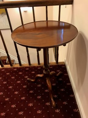 Lot 023 Antique American Cherry Dished Top Small Tea Table Circa 1740-50 27 Inches Tall 20 Inches In Diameter PICK UP IN MANHASSET