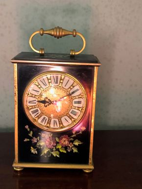 Lot 004 Hand Painted Carriage with Enamel Dial 6H x4W PICK UP IN RVC