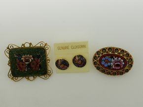 Lot 017 PU/Vintage Cloisonne Jewelry Lot of 3  One Pair of Pierced Earrings and Two Brooches  PICK UP IN GARDEN CITY,NY