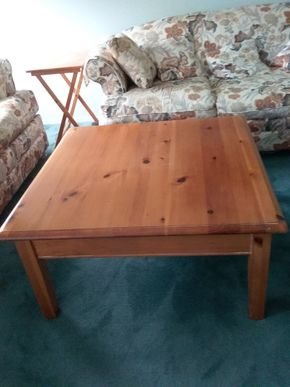 Lot 110 Pine Coffee Table 17.5H x 36W x 36L PICK UP IN OLD BROOKVILLE