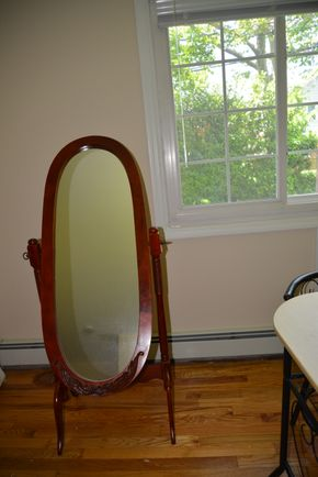 Lot 005 Cash at P/U Wooden Full Length Oval Mirror (AS-IS) PICK UP IN MINEOLA, NEW YORK