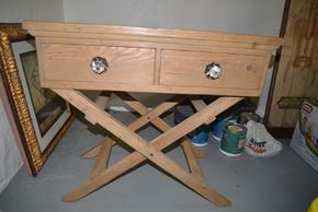 Lot 029 Williams Sonoma Wood 2 Drawer Bar/Server Table 32.375 x 35W x 21D PICK UP IN PORT WASHINGTON,NY