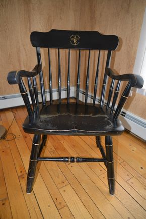 Lot 015 Alumnae NYU Black Wood Arm Chair 35.5H x 20.5W x 18.5L  PICK UP IN CATHEDRAL GARDENS HEMPSTEAD NY
