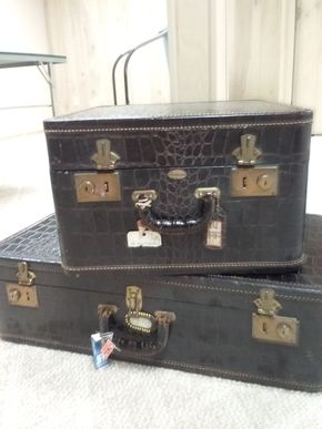Lot 029 Set Of Vintage Moximillion New York NY Leather Plastic Blend Luggage Pieces 8.5Hx 16W x 29L and 11.5H x 18w x 18L PICK UP IN MANHASSET