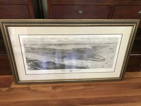 Lot 038 Vintage  Framed Map Of New York 63 x 36 PICK UP IN LAWRENCE