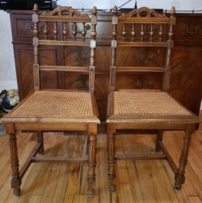 Lot 010 Lot of 2 Vintage Wood Chairs 35.5H x 17.25W x 16D PICK UP IN WEST ISLIP, NY