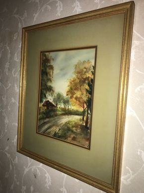 Lot 014 Framed Water Color Landscape. 12.5L X 9.5W. PICK UP IN STONY BROOK.