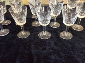 Lot 023 Lot Of 13 Lismore Waterford White Wine Glasses 5.75 Inches Tall PICK UP IN CENTERPORT