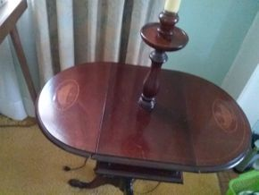 Lot 012 Pair Of Mahogany Inlaid Drop Leaf Lamp Tables  62H x 15W x 25L PICK UP IN GARDEN CITY