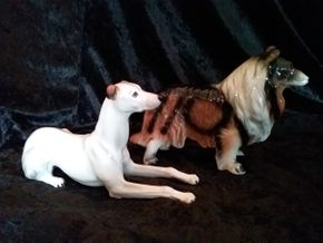 Lot 008 Pair Of Ceramic Dogs Unsigned n5.3 Inches Tall PICK UP IN FLORAL PARK