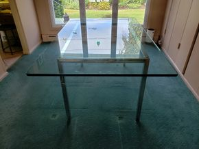 Lot 010 Glass Top Modern Dining Table 20H x 66W x 41D PICK UP IN CARLE PLACE,NY