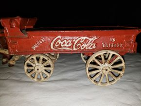Lot 002 Vintage Cast Iron Horse Drawn Coca-Cola Wagon AS IS PICK UP IN MINEOLA,NY