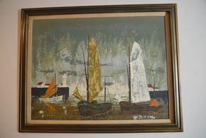 Lot 025 Painting Signed Jacques Herri Guyot Oil on Canvas 29.5H x 39.25W PICK UP IN GLEN COVE, NY