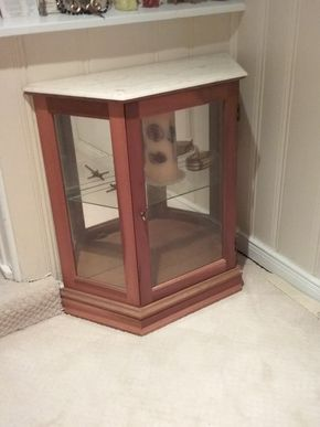 Lot 015 Small Curio Cabinet With Marble Top 29H x 11W x 28L PICK UP IN GARDEN CITY