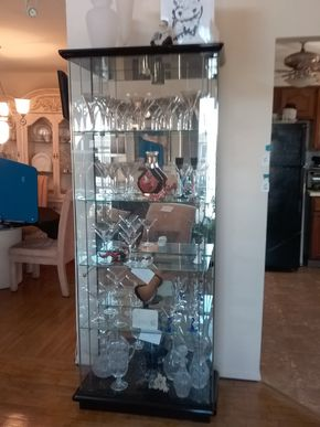 Lot 022 Glass and Lacquer Display Cabinet 77.5H x 13.5W x 30L PICK UP IN BELLE HARBOR