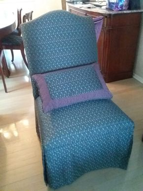 Lot 035 Ethan Allen Custom Upholstered Chair with pillow 40.5H x 24W x 24L PICK UP IN ROCKVILLE CENTRE