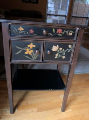 Lot 030 Pier One Decorative painted 3 drawer cabinet ITEMS MUST BE PICKED UP IN LONG BEACH