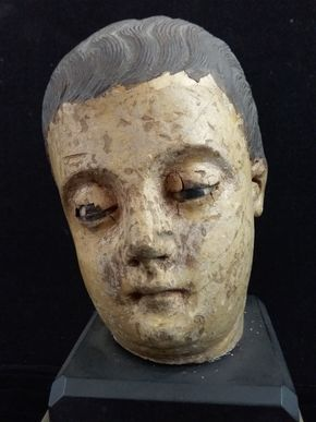 Lot 033 Carved Wood Head on Mable Base w/Glass Eyes 10Hx4Wx4L