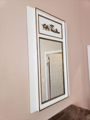 Lot 016 PU and PAY/ White Gold Frame Wall Mirror Approx.Dimensions 55.25H x 35.25W x3D PICK UP IN EASTPORT,NY