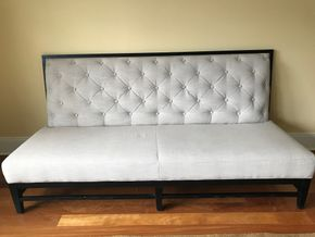 Lot 065 Custom Fabric And Wood Couch 39H x 34W x 81L PICK UP IN LAWRENCE