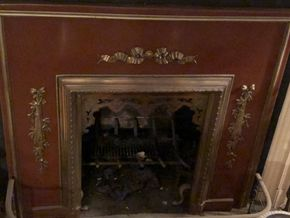 Lot 119 Fireplace Surround Metal Antique Brown and Brass Applique 38H x 42W