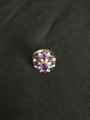 Lot 123 14K Gold Amethyst  and Seed Pearl Ring Made In Germany PICK UP IN GARDEN CITY