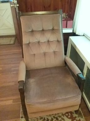 Lot 011 Wood Fabric and Caned Recliner 38H x 23W x 26L PICK UP IN WESTBURY