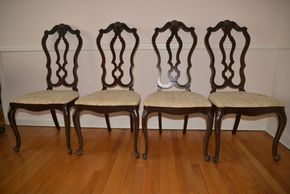 Lot 006 LOT OF 4 Wood and Upholstered Side Chairs 42.5H x18W x18L  PICK UP IN CATHEDRAL GARDENS HEMPSTEAD NY
