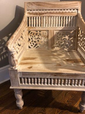 Lot 033 Indonesian Wood carved chair painted white 24x2628 PICK UP IN BELLEROSE VILLAGE 11001