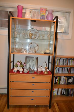 Lot 017 Wall Showcase Cabinet w/4 Drawers 71.5H x 34W x 17D PICK UP IN MINEOLA, NEW YORK
