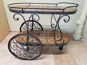Lot 016 PU/German Vintage Metal Serving Cart 27.25H x 31W x 16D PICK UP IN GARDEN CITY, NY