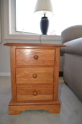 Lot 002 Oak Wood 3 Drawer Table 21H x 17W x 26L PICK UP IN SEAFORD, NY