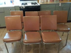 Lot 007 Lot Of 7 Vintage Kitchen Chairs AS IS Some Stains 32H x 17W x 15L PICK UP IN WESTBURY