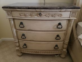 Lot 030 Distressed Night Chest 3 Drawer  35.5H x 36W x17.75D PICK UP IN EASTPORT,NY