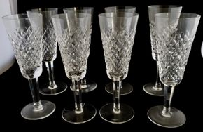 Lot 029 CC-PU-/ of 8 Waterford Alana Fluted Champagne Glasses 7.375H x 2.5W PICK UP IN CARLE PLACE,NY