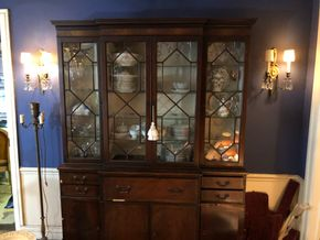 Lot 005 Mahogany China Cabinet 4 Drawer/4 Cabinets 80Hx60wx15d