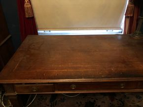 Lot 066 Antique Writing Wood Desk w/3 Drawers