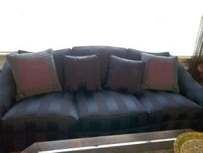Lot 034 Ethan Allen Custom Blue Upholstered 3 Seat Sofa 32Hx 37W x 84L PICK UP IN ROCKVILLE CENTRE