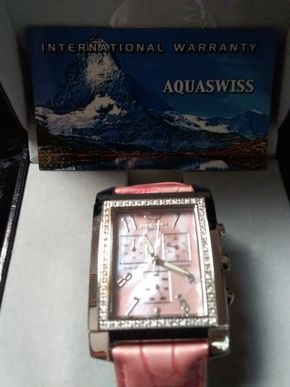 Lot 046 Aquaswiss Watch with Pink and Blue Leather Bands PICK UP IN GARDEN CITY
