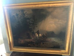 Lot 019 PU 20th century Oil on Canvas 1874 Hunters with Their Catch Emma Hall, American Artist 35.5W x 28T w/frame PICK UP IN RVC