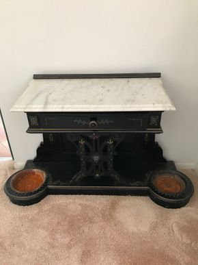 Lot 018 Hall Stand With Marble Top. 26H X 13.75W X 43L. PICK UP IN INWOOD.