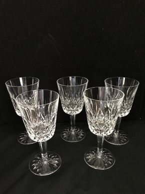 Lot 003 Lot Of Five Waterford Crystal Wine Glasses. 7 In H. PICK UP IN INWOOD.