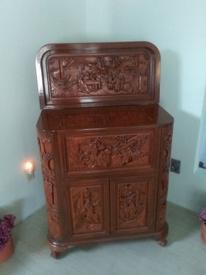 Lot 077 Carved Mahogany Chinese Bar With Many Compartments 39H x 16W x 31L PICK UP IN OLD BROOKVILLE
