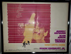 Lot 017 Framed Wait Until Dark Movie Poster  21H x 27W PICK UP IN HEWLETT,NY
