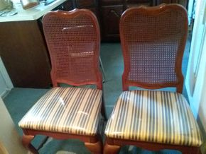 Lot 045 Pair Of Mahogany Caned and Fabric Dining Room Chairs 41H x 19W x 54L PICK UP IN WEST HEMPSTEAD