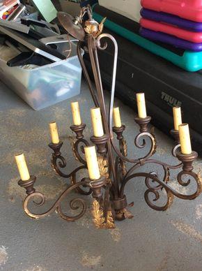 Lot 027 Metal 9 Arm Chandelier 36X28 PICK UP IN CENTERPORT