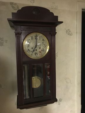 Lot 061 German Key Wind Wall Clock Running Not Sure If Keeping Time K.C. Company 32H x 6.25 x 12L PICK UP IN ROCKVILLE CENTRE
