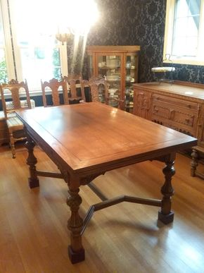 Lot 001  Hand Carved  Oak Dining Room Table With Two 16 Inch Leaves that Slide Out 30H x 40W x 64L PICK UP ITEM IN ROCKVILLE CENTRE