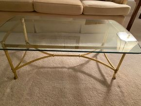 Lot 037 PU Glass and brass cocktail 45 IN L X 24 IN W X 16 IN Htable PICK UP IN HUNTINGTON