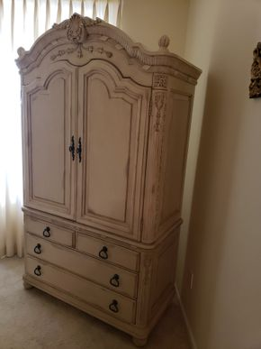 Lot 028 Distressed 5 Drawer Armoire Approx.Dimensions 81H x 45.5W x 23D PICK UP IN EASTPORT,NY